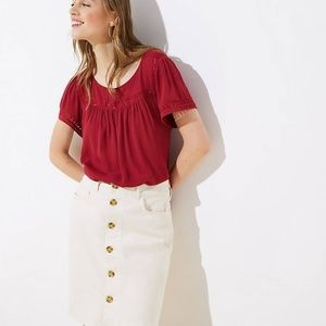 NewWithTag-NWT Ann Taylor Loft Women Red knit Top